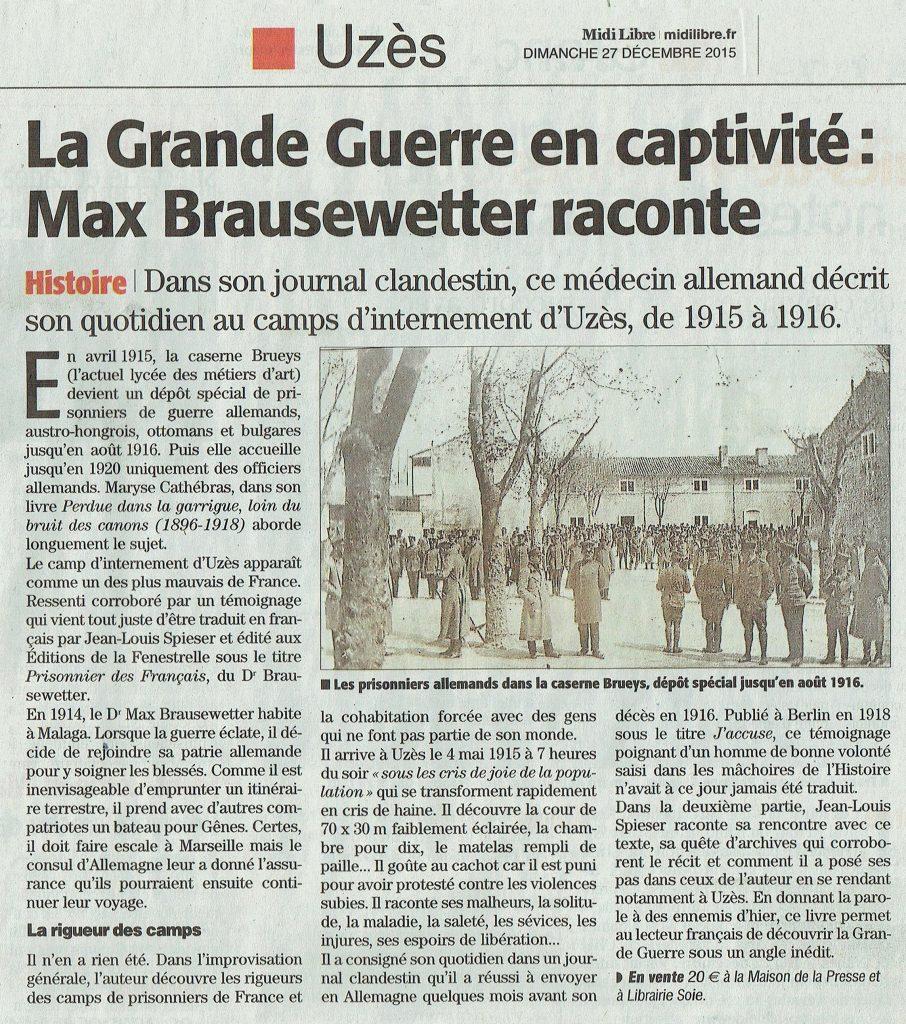 Prisonniers des Français Midi Libre 27-12-2015